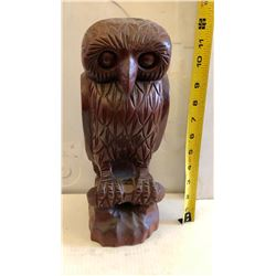 CARVED WOODEN OWL IN DEEP RED TONES