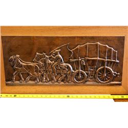 HAMMERED COPPER WALL ART WITH COVERED WAGON SCENE