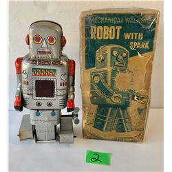 S.Y. VINTAGE MECHANICAL WALKING ROBOT WITH SPARK