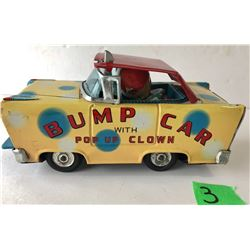 W TOY (JAPAN) VINTAGE 'BUMP CAR WITH POP UP CLOWN'
