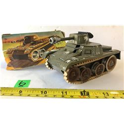 D.R.G.M. TIN TOY GAMA TANK WITH WORKING PARTS.