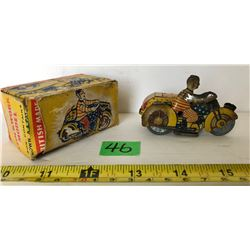 CLOCKWORK MODEL TIN MOTORCYCLE WITH SIDE CAR & CLOWN RIDER