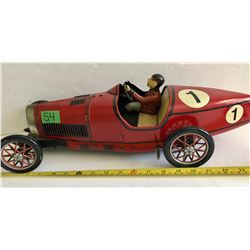VINTAGE TIN WINDUP TOY RACE CAR