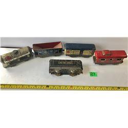 5 PIECE TIN TRAIN SET - MADE IN USA