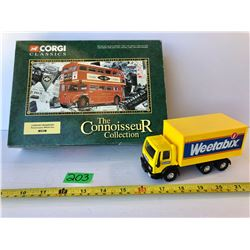 CORGI CLASSICS DIECAST BUS & DELIVERY TRUCK.