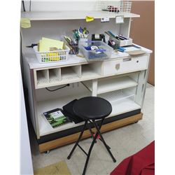 Rolling White Laminate Work Station w/ Shelves, Cubbyholes, Stool & Supplies