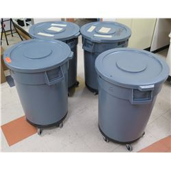 Qty 4 Rolling Commercial Round Gray Receptacles w/ Lids