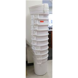 Qty 10 White Commercial Condiment Storage Bins & Lids