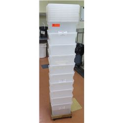 "Qty 10 Commercial Rectangle Storage Bins & Lids Approx 12""x12""x10.5"""
