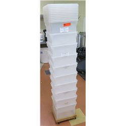 Qty 10 Commercial Rectangle Storage Bins & Lids Approx 12 x12 x10.5