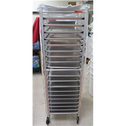 Rolling Commercial End Load Sheet Pan Rack w/ Multiple Pans & Plastic Cover