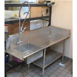 Commercial Sink w/ Steel Dry Rack, Undershelf & Faucet Rinse Spray Head 76Wx28Dx43H