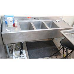 Krowne Commercial Triple Sink (no faucet) w/ 2 Side Drain Boards 18-53C
