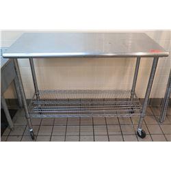 Stainless Steel Work Table on Wheels w/ Mesh Undershelf