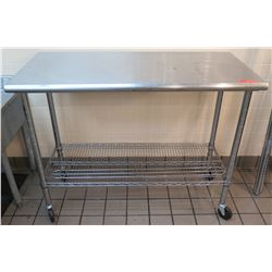 "Stainless Steel Work Table on Wheels w/ Wire Undershelf 49.5""L x 24""W x 39""H)"