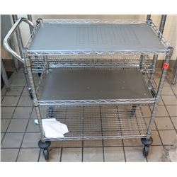 Rolling 3 Tier Steel & Mesh Serving Cart