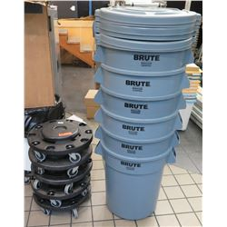 Qty 6 Rubbermaid Brute Commercial Bins w/ Lids & 5 Rolling Dolly's
