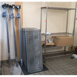 Qty 4 Stainless Steel Mesh Rolling Shelving Units