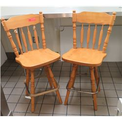 Qty 2 Wooden High Back Chairs Bar Stools