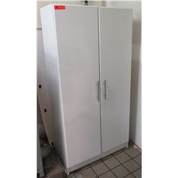 Tall White 2 Door Storage Cabinet w/ Inside Shelves
