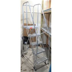 Cotterman 6 Step Rolling Safety Angle Ladder Stairs w/ Top Step
