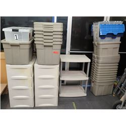 Misc Size Heavy Plastic Storage Bins, 2 Tier Shelf & Two 4 Drawer Cabinets