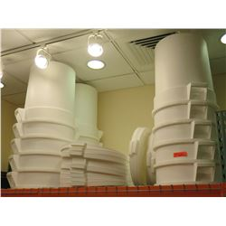 Qty 20 White Heavy Plastic Commercial Stacking Storage Bins & Lids