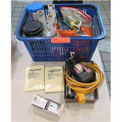 Plastic Carry Basket w/ Office Supplies - Shrink Wrap, Scissors, Cords, etc