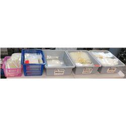 Qty 5 Bins Misc Size Standup & Flat Plastic Bags