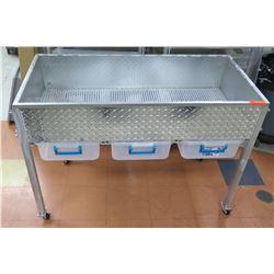 Rolling Diamond Plate Strainer Cart w/ 3 Sliding Plastic Bins