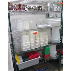 Contents of Shelf: Primo Popcorn Mugs, Plastic Containers, Mixing Bowls etc