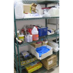 Contents of Shelf: Plastic & Foam Serving Containers, Butter Topping Oil, etc