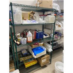 """Green Wire Shelving Unit (contents not included) 47""""W x 24""""D x 75""""H"""