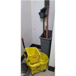 Industrial Mop Bucket w/ Wringer, Misc Brooms, Sweepers, etc