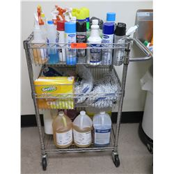 Wire Mesh 3 Tier Cart & Contents: Cleaning Supplies, Swiffer 360, Citrus Clean