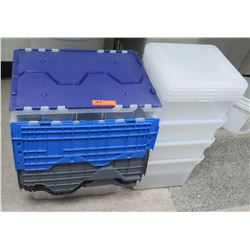 Qty 5 Heavy Plastic Rectangle Bins w/ Attached Lids & 4 Square Containers
