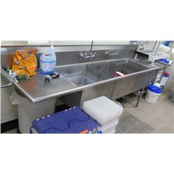 """Turbo Air 3-Basin Sink w/ 2 Side Drain Boards TSB-3-D2 (120""""W x 30""""D x 44""""H"""