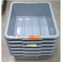 Qty 6 Heavy Duty Commercial Rectangle Dish Bins Containers