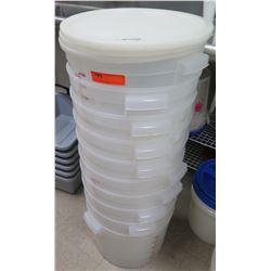 Qty 10 White Round Commercial Bucket Storage Bins & 3 Lids