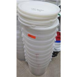 Qty 10 White Round Commercial Bucket Storage Bins & 10 Lids