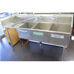 """Stainless Steel Triple Sink w/ Side Drain Board & 2 Faucets 78""""W x 31""""D x 45""""H"""