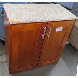 """Stone-Top 2-Door Wooden Cabinet 30""""W x 16""""D x 31""""H"""
