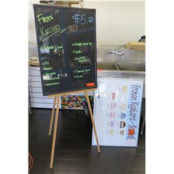 Wood 3 Leg Easel w/ Blackboard & White Dry Erase Board