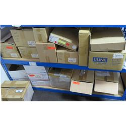 Multiple Boxes ULine S-11077 Bags, S-2405 Cups, Flat Cello Bags, etc