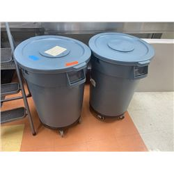 Qty 2 Heavy Duty Rubber Receptacles w/ Wheeled Base