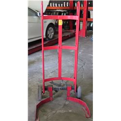 Rolling Red Adjustable 30-55 Gallon Steel Drum Dolly Truck