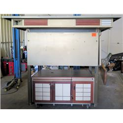 Full-Size Mall Kiosk from Retail Environment - On Wheels w/ Roof, Metal Sides, Lights & Shelving
