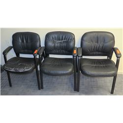 Qty 3 Stationary Leather-Like Arm Chairs