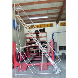 Rolling 15 Step Warehouse Safety Ladder Staircase (available for pick-up Wednesday)