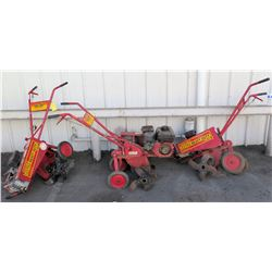 Qty 3 Maxim Commercial Chain Drive Extra Heavy Duty Tillers (needs repair, parts may be missing, doe